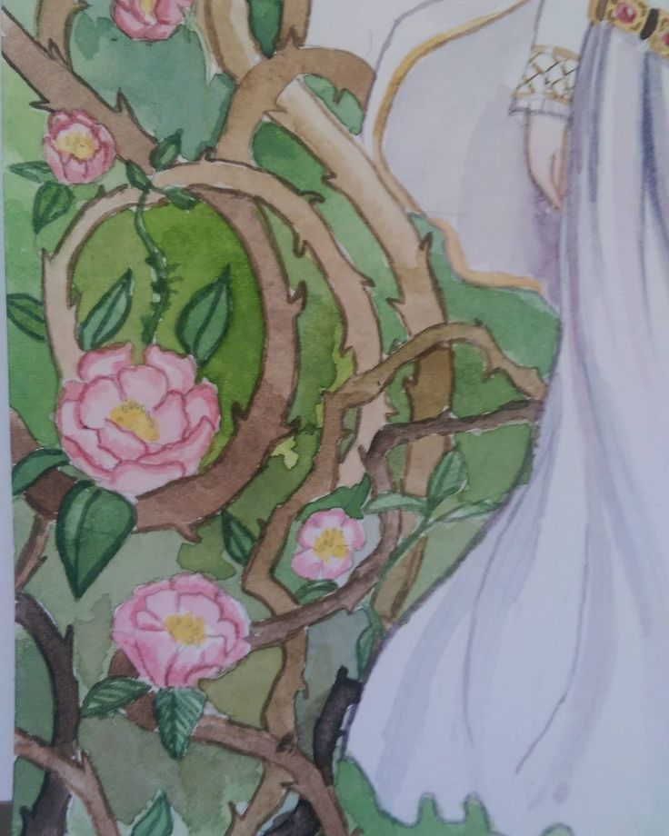 Detail from my briar rose painting. May go back but don't realistically think I have time before the auction #femmethouart #femmethouartcollective #watercolour #watercolor #artistsoninstagram #painting #artauction #artcollective #fairytaleart
