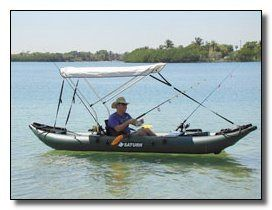 Fishing from Saturn inflatable fishing kayak