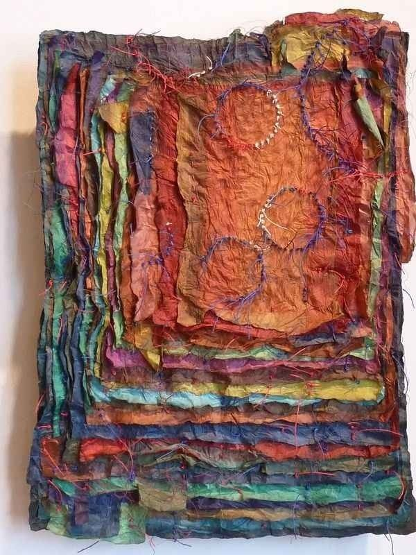 like this idea for layered, textural prayer flags...