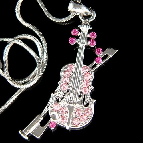 Swarovski Crystal Hot Pink Fiddle Bow Music Charm