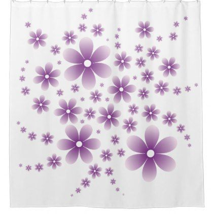 Flower Line D Type Purple Shower Curtain - diy cyo customize create your own personalize