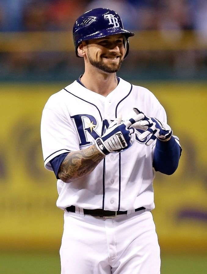 Infielder Ryan Roberts #19 of the Tampa Bay Rays smiles after a single against the Toronto Blue Jays during the game at Tropicana Field on September 22, 2012