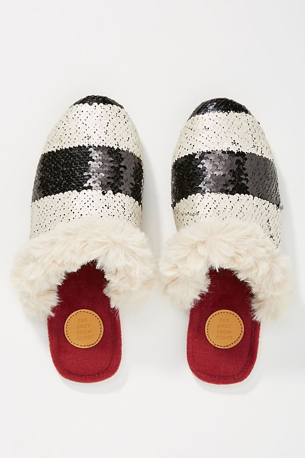 1614be8c3404 Slide View  1  Far Away From Close Striped + Sequined Slipper Slides