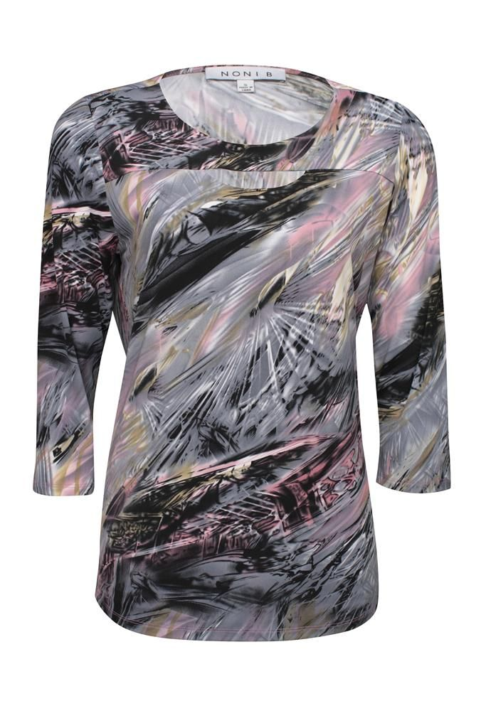 Noni B Printed Top 3/4 Sleeve $79.95 AUD  Top with cut out peep hole 3/4 sleeve 95% Polyester 5% Elastane  Item Code: 047949