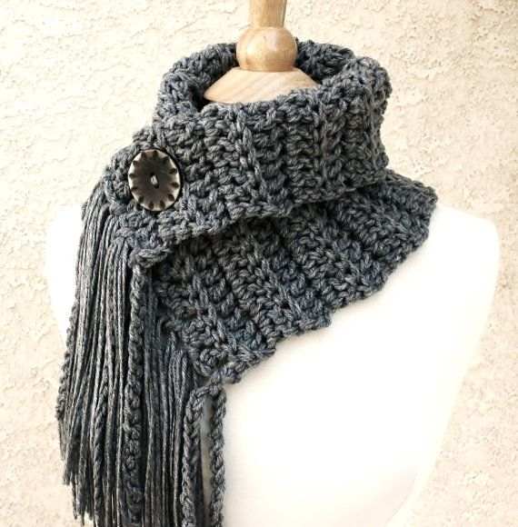 INSPIRATION~ I have patterns that are similar, and you could  just add the fringe for added interest.~GRAY SKIES COWL - Scarf with fringe and button-love this