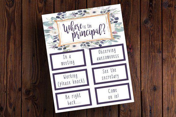 Purple Floral Principal Sign Back To School Principal Office Decor