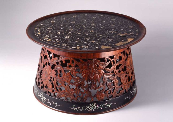 Wonban (round table), Choson Dynasty. ca. 19th century,Wood, lacquer, mother-of-pearl inlay. #DecorativeKoreanArt