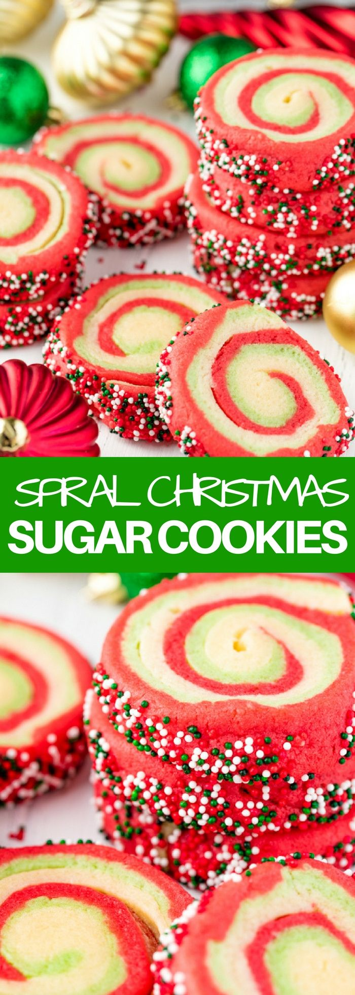 These Spiral Christmas Sugar Cookies are soft and chewy and full of festive colors!   I'm getting all festive today with these spiral sugar cookies. It's all the deliciousness of my usual soft cream cheese sugar cookie, in a spiral colorful festive Christmas version, complete with sprinkles. My kids are in love with these! They...