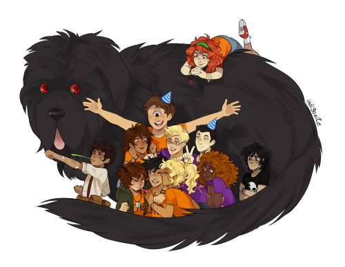 Mrs. O'Leary, Rachel Dare, Tyson, Leo Valdez, Piper McLean, Jason Grace, Frank Zhang, Grover Underwood, Percy Jackson, Annabeth Chase, Hazel Levesque & Nico di Angelo | art by indigonite