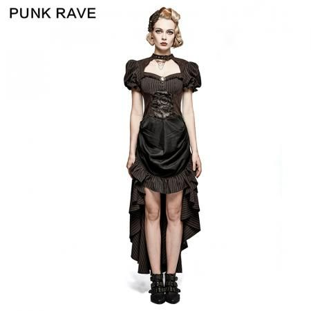 steampunk british style coffee puff sleeve high low punk dress