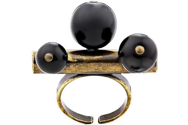 Bague Tube, métallisation bronze, perles de verre, réglable