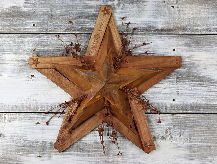 Barn Star Decor 18 inch Wood Rusty Tin Burgundy Pip Berry Primitive Wall Accent #Country #OliviasHeartland