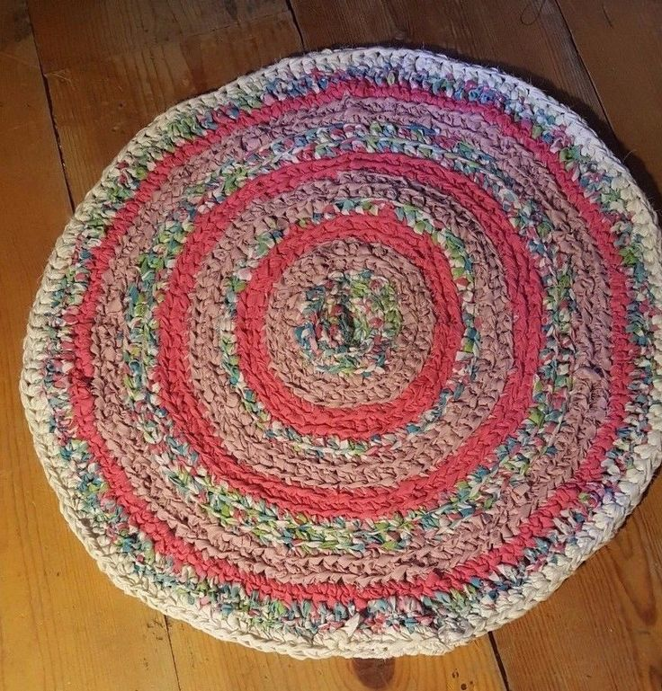 "Handmade Crochet Rug Pink Rug Pink Carpet Nursery: Rag Rug Round Handmade Cotton Crochet Rug 25"" IN DIAMETER"