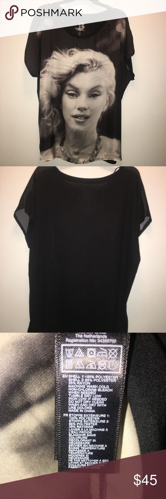 MARILYN MONROE!!!! Beautiful worn Once Marilyn Monroe blouse! Won't last long better get it! Forever 21 Tops Blouses