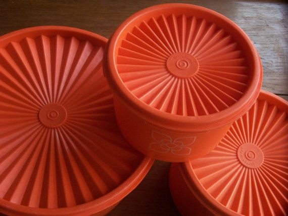 Vintage Tupperware Containers 1970s Bright Orange by IngliVintage