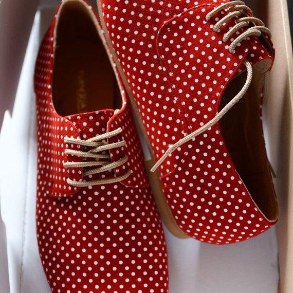Piatto in pelle rosso scarpe-donna Oxford scarpe-rosso e