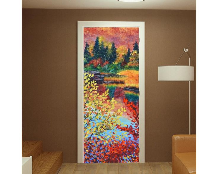 River in fall, αυτοκόλλητο πόρτας , δείτε το!