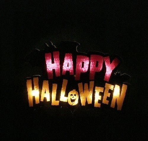 16 Lighted Happy Halloween Sign Window Silhouette Decoration  Super bright bulbs, UL listed for indoor or outdoor use, If one bulb burns out, the rest will stay lit Features : Comes with replacement bulbs and spare fuses *Contains 1 plug with end connector which allows you to stack multiple lighted items together (not to exceed 210 watts) *If one bulb burns out, the rest will stay lit *Great for festive decorating...