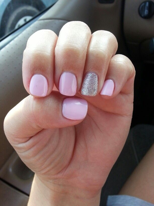 Gel nails - baby pink and glitter. | Gel nail fun | Pinterest