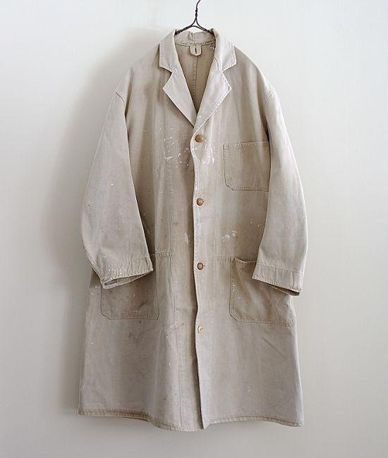 LILY1ST VINTAGE 1940'S BRITISH FADED COLOR PAINTED WORK COAT http://floraison.shop-pro.jp/?pid=75991243