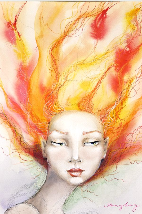 Flame Watercolor And Ink Painting Of A Young Woman With Green