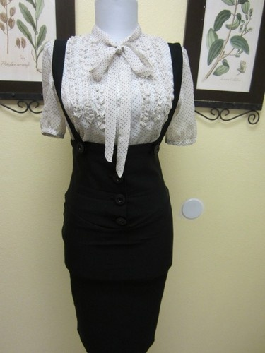 High waist suspenders pencil skirt