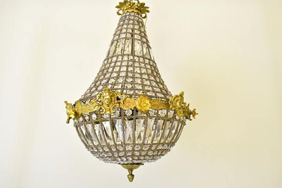 Antique Ceiling Light - Vintage French Crystal Chandelier Lighting with Bronzes and Glass Pearls - Hanging Lighting Fixture, France 1950s