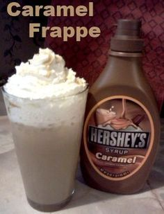 Caramel Frappe  1 1/2 cups Cold Coffee, 2 Cups Milk, 1/4 Cup Caramel Syrup, 1/4 Cup Sugar, Redi-whip for the top (optional)  Freeze the coffee in ice cube trays. Once frozen, blend everything until smooth and enjoy!! This makes enough that you can share!.