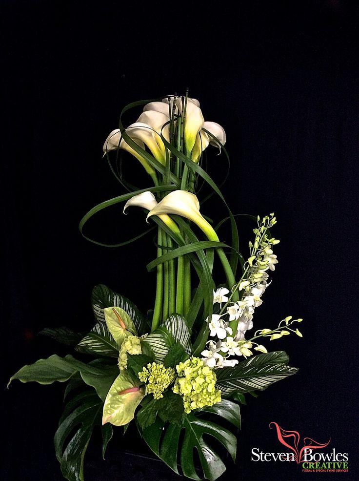 Long white Calla Lily flower arrangement/white calla lily wedding flowers centerpiece. Designed by Steven Bowles Creative, Naples, FL special events and floral designer. www.stevenbowlescreative.com