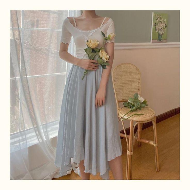 Irregular hem skirt the cottagecore white vintage dress