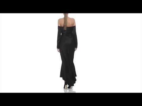Silk-Satin off-the-shoulder Dress - Laura Hincu Shop
