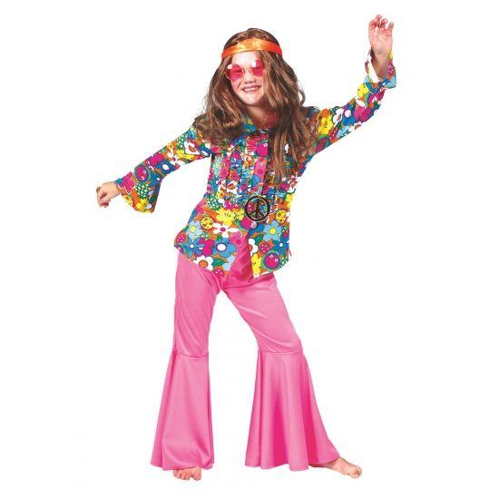 Roze hippie broek voor kinderen. Vrolijke hippie broek voor kinderen, in fel roze kleur. Bijpassende accessoires en blouses zijn ook in deze webshop verkijgbaar.
