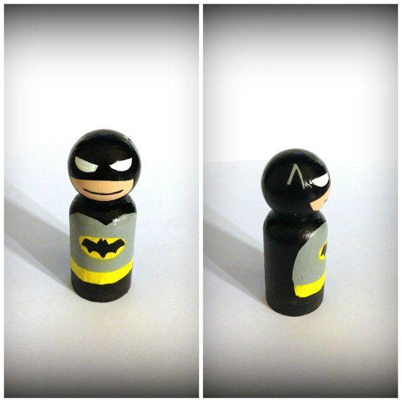 Batman Inspired Wooden Toy Doll Peg By Butterflybluegifts
