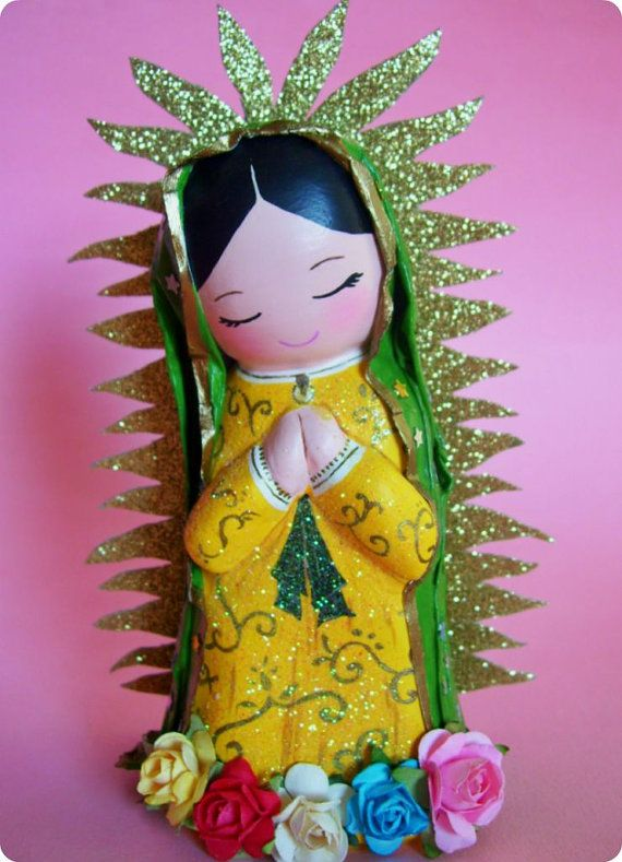 Virgencita de Guadalupe Paper Mache Figurine by AmericaP on Etsy