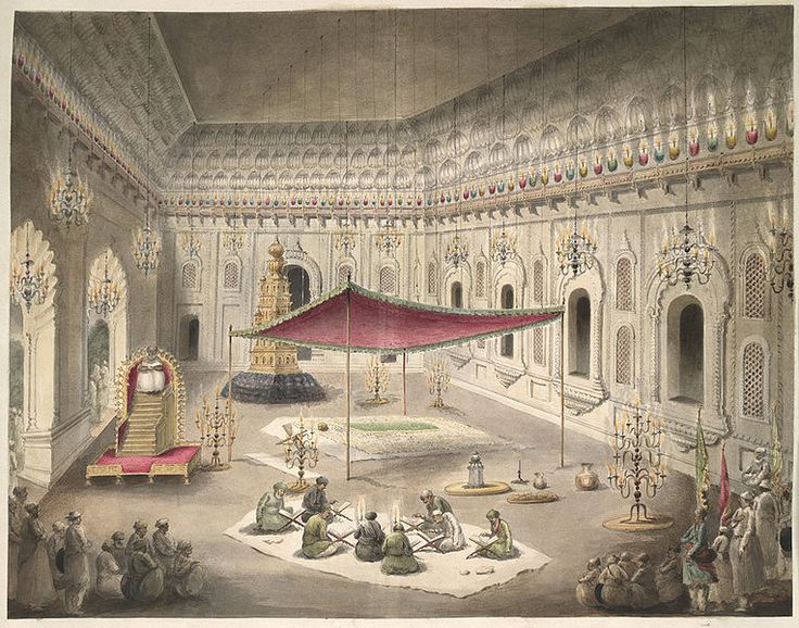 The simple grave of Asaf ud-Daula under a canopy inside the Bara Imambara; a watercolor by Seeta Ram, c.1814-15