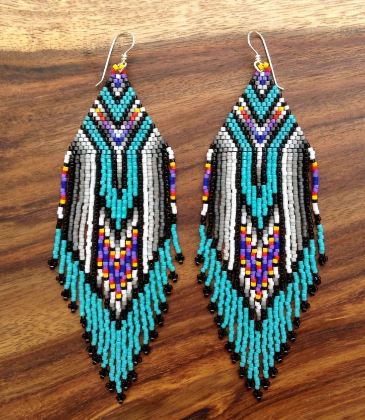 Turquoise Feather Earrings by wildmintjewelry on Etsy