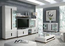 Lorenz High Gloss White Sideboard TV Unit Tall Display Cabinet Lounge Furniture