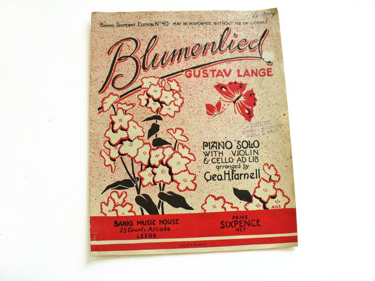 1920s Banks sixpenny edition sheet music booklet - Blumenlied (Song of the Blossoms) by Gustav Lange by RetroDelia on Etsy