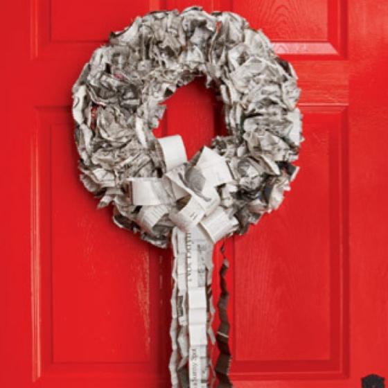 Newspaper wreath... Red door