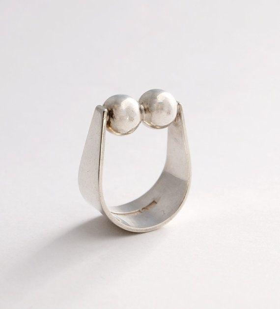 Modernist Kaunis Koru Sterling Silver Ring Finland Scandinavian Nordic 1970s