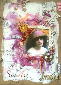"""My mixed media art journal cover """"Created true dreams"""" Hello everyone!    This is my first entry for Snip A rt  and I feel really very honored to be a member of this fabulous team!   Today I wo..."""