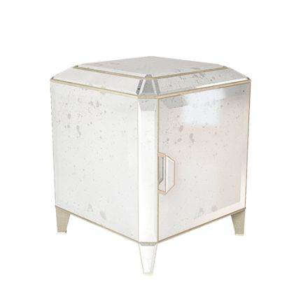 With its smooth, flawless, shiny surfaces of coloured glass or mirrors, its elegant cut corners and its fine detailing, this fabulous CARRÉ nightstand is like a carré-cut diamond for your bedside. #carre #handmade #bedside #table #nightstand #interiors #decor #diamond #highend #luxury #design #MARIIANIQ #mirror #antique #mirrored