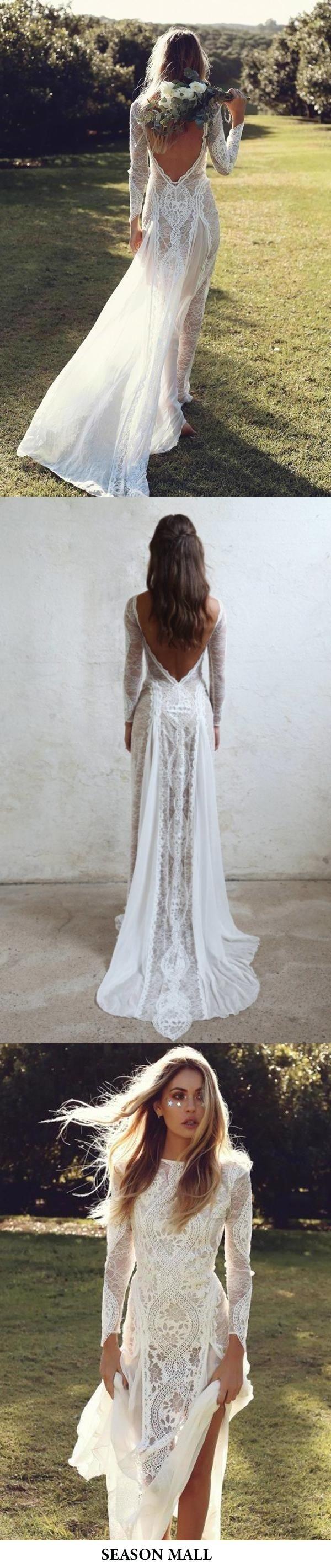 Ivory Sheath Brush Train Long Sleeve Backless Lace Wedding Dress Beach Wedding Dress Backless Lace Wedding Dress Wedding Dresses Lace Lace Beach Wedding Dress [ 2842 x 600 Pixel ]