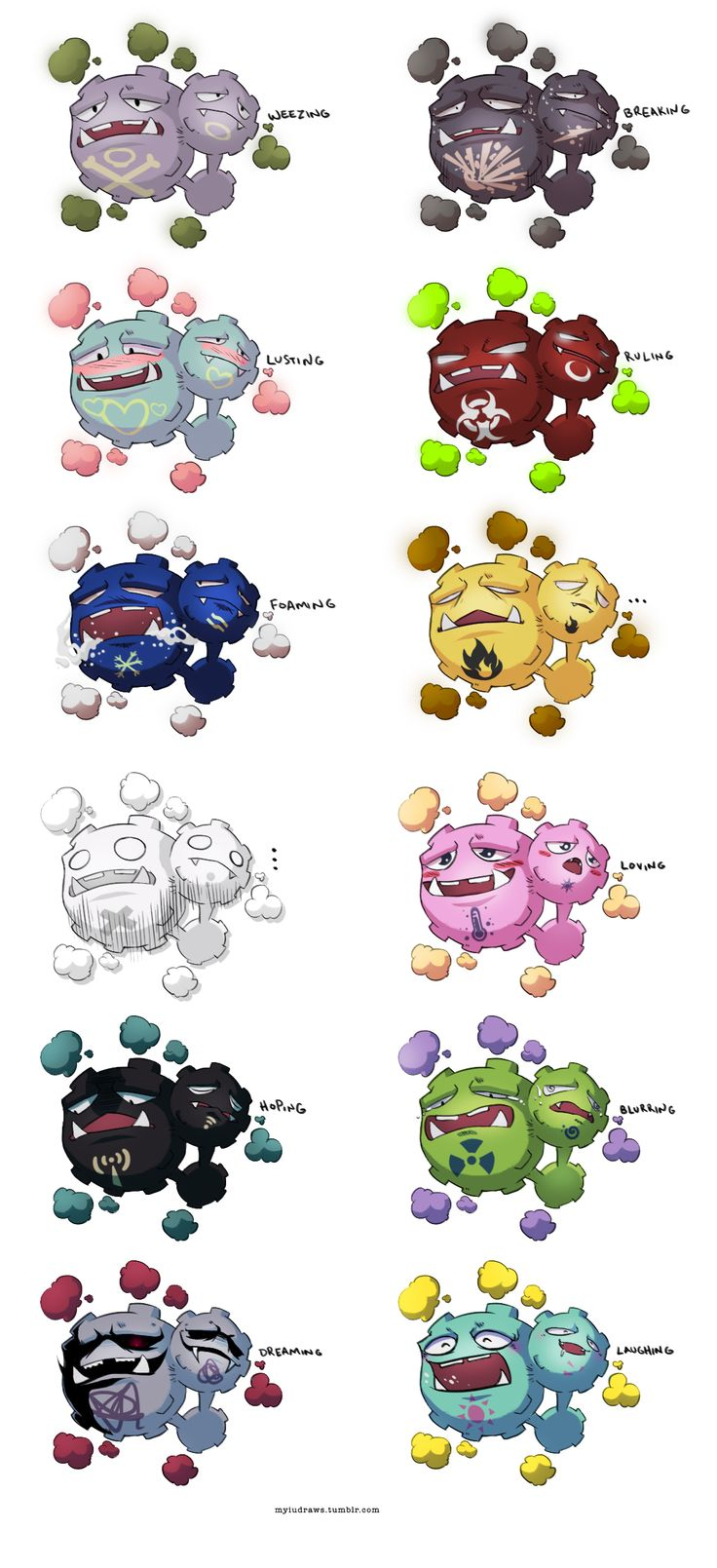 Pokemon Variations: Weezing (by myiudraws on tumblr)