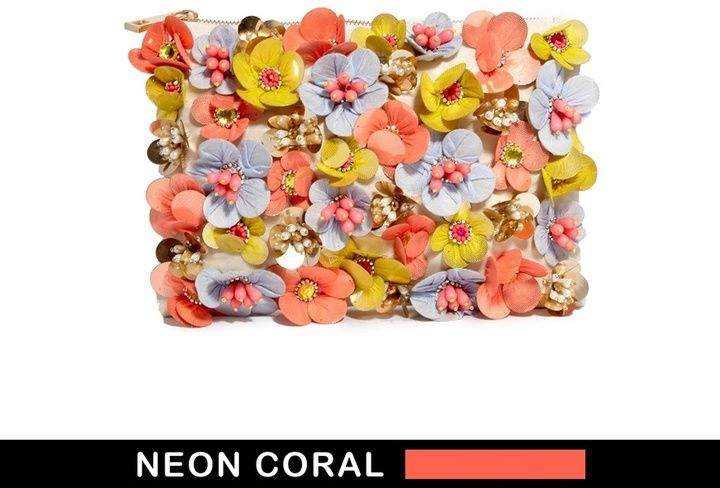 Asos Clutch Bag With Neon Flower Embellishment - Multi on shopstyle.co.uk