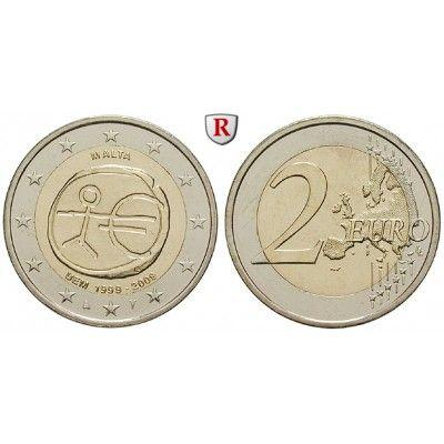 Malta, 2 Euro 2009, bfr.: 2 Euro 2009. 10 Jahre Währungsunion. bankfrisch 5,00€ #coins