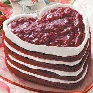 Red Velvet Heart Torte Recipe -I bake this scrumptious, fruit-topped layer cake every February 14 for my husband's birthday. The heart shape is really pretty for Valentine's Day. —Amy Freitag, Stanford, Illinois