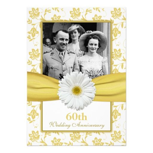 Damask Daisy Diamond 60th Wedding Anniversary Invites.  $2.15