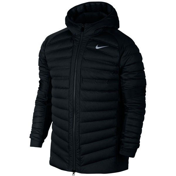 Nike Men's AeroLoft Hybrid Basketball Jacket (€335) ❤ liked on Polyvore featuring men's fashion, men's clothing, men's activewear, men's activewear jackets, black and mens activewear