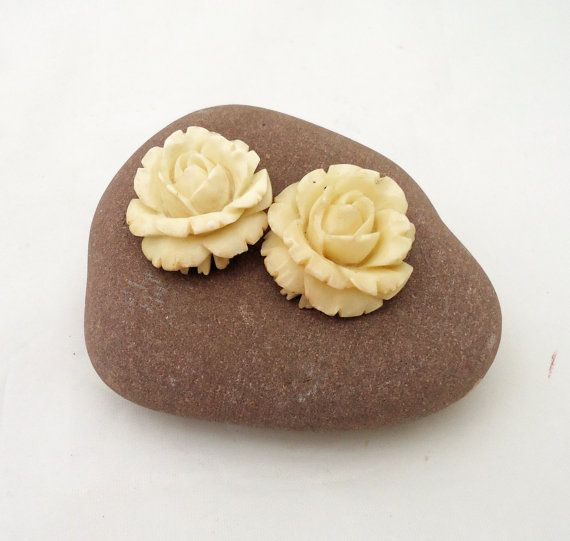 Vintage bone carved detailed rose earring by thesecretcupboard, £35.00